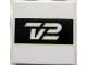 Part No: 3068bpb0177  Name: Tile 2 x 2 with Groove with TV2 Logo Black Pattern