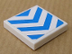 Part No: 3068bpb0330  Name: Tile 2 x 2 with Groove with Chevron Stripes Blue on White Background Pattern (Sticker) - Set 8147
