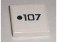 Part No: 3068bpb0369  Name: Tile 2 x 2 with Groove with Black Dot and '107' Pattern (Sticker) - Set 8211
