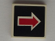 Part No: 3068bpb0380  Name: Tile 2 x 2 with Groove with Arrow Red with White Outline on Black Pattern (Sticker) - Set 5983