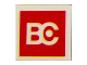 Part No: 3068bpb0412  Name: Tile 2 x 2 with Groove with BC Logo Red Pattern