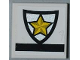 Part No: 3068bpb0437  Name: Tile 2 x 2 with Groove with Police Yellow Star Badge Pattern (Sticker) - Set 8186