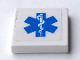 Part No: 3068bpb0456  Name: Tile 2 x 2 with Groove with Blue EMT Star of Life on White Background Pattern (Sticker) - Set 7903