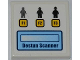 Part No: 3068bpb0583  Name: Tile 2 x 2 with Groove with 3 Minifigures, 3 Buttons with 'F1', 'F2' and 'F3' and 'DESTUN SCANNER' Pattern (Sticker) - Set 7066