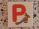 Part No: 3068bpb0725  Name: Tile 2 x 2 with Groove with Letter P Red with Parrot Pattern