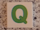 Part No: 3068bpb0726  Name: Tile 2 x 2 with Groove with Letter Q Lime Pattern
