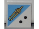Part No: 3068bpb0775  Name: Tile 2 x 2 with Groove with 2 Black Dots and Gold Sword Pattern