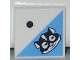 Part No: 3068bpb0777  Name: Tile 2 x 2 with Groove with 1 Black Dot and Skunk Head Pattern