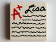 Part No: 3068bpb0827  Name: Tile 2 x 2 with Groove with 'A+ Lisa' and Writing Lines Pattern (71006)
