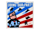 Part No: 3068bpb0985  Name: Tile 2 x 2 with Groove with 'DOING OUR PART!' Superheroes Pattern