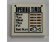 Part No: 3068bpb1150  Name: Tile 2 x 2 with Groove with 'OPENING TIMES' Pattern (Sticker) - Set 21310