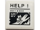 Part No: 3068bpb1242  Name: Tile 2 x 2 with Groove with Caption of Cat on Tree Branch, 'HELP !' and 'XX - XXXX' Pattern (Sticker) - Set 70902