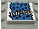 Part No: 3068bpx22  Name: Tile 2 x 2 with Yellow 'TURBO', Black Spots, Blue Background Pattern