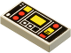 Part No: 3069bp68  Name: Tile 1 x 2 with Red and Yellow Controls and Two White Stripes on Left Pattern