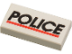 Part No: 3069bpx29  Name: Tile 1 x 2 with Groove with 'POLICE' Red Line Pattern