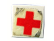 Part No: 3070apb01  Name: Tile 1 x 1 without Groove with Red Cross Pattern (Sticker)