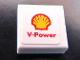 Part No: 3070bpb076  Name: Tile 1 x 1 with Groove with Shell Logo and 'V-Power' Pattern (Sticker) - Set 30190
