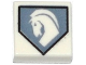 Part No: 3070bpb092  Name: Tile 1 x 1 with Groove with White Horse on Light Bluish Gray Pentagonal Shield Pattern
