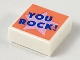 Part No: 3070bpb148  Name: Tile 1 x 1 with Groove with Blue 'YOU ROCK!' on Bright Pink Star on Coral Background Pattern