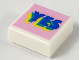 Part No: 3070bpb150  Name: Tile 1 x 1 with Groove with Blue, Green, and Yellow Layered 'YES' on Bright Pink Background Pattern