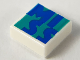 Part No: 3070bpb157  Name: Tile 1 x 1 with Groove with Blue 'MISS' on Dark Turquoise Background Pattern