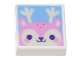Part No: 3070bpb188  Name: Tile 1 x 1 with Groove with Bright Pink Reindeer Face Pattern