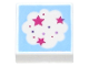 Part No: 3070bpb190  Name: Tile 1 x 1 with Groove with Cloud with Magenta Stars on Bright Light Blue Background Pattern