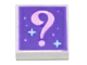Part No: 3070bpb192  Name: Tile 1 x 1 with Groove with Bright Pink Question Mark and Bright Light Blue Sparkles on Dark Purple Background Pattern