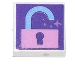 Part No: 3070bpb195  Name: Tile 1 x 1 with Groove with Bright Pink Unlocked Padlock on Dark Purple Background Pattern
