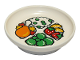 Part No: 31333pb10  Name: Duplo Utensil Dish with Chicken Leg, Rice, Vegetables and Fruits Pattern