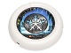 Part No: 32171pb013  Name: Throwbot Disk, Ski / Ice, 2 pips, snowflake logo Pattern