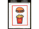Part No: 3245bpb01  Name: Brick 1 x 2 x 2 with Inside Axle Holder with McDonald's Fries & Burger Pattern (Sticker) - Set 3438