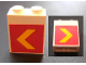 Part No: 3245bpb09  Name: Brick 1 x 2 x 2 with Inside Axle Holder with Yellow Chevron on Red Background Pattern on Both Sides (Stickers) - Set 1255