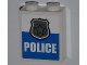 Part No: 3245cpb013  Name: Brick 1 x 2 x 2 with Inside Stud Holder with Silver Police Badge and 'POLICE' Pattern (Sticker) - Set 4440