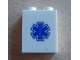 Part No: 3245cpb020  Name: Brick 1 x 2 x 2 with Inside Stud Holder with Blue EMT Star of Life Pattern (Sticker) - Set 60023