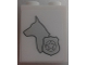 Part No: 3245cpb057L  Name: Brick 1 x 2 x 2 with Inside Stud Holder with Dog Head Facing Left and Silver Police Badge Pattern Model Left Side (Sticker) - Set 60048