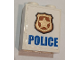 Part No: 3245cpb108  Name: Brick 1 x 2 x 2 with Inside Stud Holder with Blue 'POLICE' on White Background and Gold Police Badge Pattern (Sticker) - Set 60139