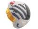 Part No: 33648c01pb03  Name: Minifigure, Headgear Helmet SW Rebel Pilot Raised Front with Trans-Yellow Visor with Blue Diagonal Stripes and Dark Bluish Gray Alien Letters Pattern