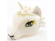 Part No: 35600pb03  Name: Fox Head with Light Aqua Eyes, Golden Swirls and Black Nose Pattern