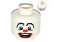 Part No: 3626bpb0607  Name: Minifigure, Head Large Drawn Eyebrows, Blue Eye Make-up, Big Red Nose and Large Red Mouth Pattern (Clown) - Blocked Open Stud