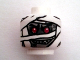 Part No: 3626bpb0713  Name: Minifigure, Head Alien with Red Eyes and Glow In Dark Mummy Wrapping Pattern - Blocked Open Stud
