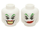 Part No: 3626cpb0638  Name: Minifigure, Head Dual Sided Green Eyebrows, Red Lips, Wide Smile / Smirk Pattern (The Joker) - Hollow Stud