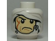 Part No: 3626cpb0663  Name: Minifigure, Head Male White Bandage with Buttons Pattern (SW Dengar) - Hollow Stud