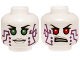 Part No: 3626cpb1037  Name: Minifigure, Head Dual Sided Alien Female with Purple Circuitry, Green Eyes / Red Eyes Pattern (Pixal / P.I.X.A.L.) - Hollow Stud