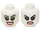 Part No: 3626cpb1362  Name: Minifigure, Head Dual Sided Female Gray Eyes and Eye Shadow, Red Lips, Open Smile / Bared Teeth Angry Pattern (Harley Quinn) - Hollow Stud
