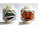 Part No: 3626cpb1374  Name: Minifigure, Head Dual Sided Alien Mummy Wraps, Yellow Eyes and Red Mouth / Black Eyebrows and Moustache Pattern - Hollow Stud