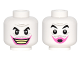 Part No: 3626cpb1518  Name: Minifigure, Head Dual Sided Black Eyebrows, Gray Wrinkles and Moustache, Dark Pink Lips, Wide Grin / Lips Pursed Pattern (The Joker) - Hollow Stud