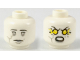Part No: 3626cpb1935  Name: Minifigure, Head Dual Sided Alien with Light Bluish Gray Crack in Right Cheek, Neutral / Angry with Yellow Electricity in Eyes Pattern - Hollow Stud