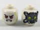 Part No: 3626cpb2011  Name: Minifigure, Head Alien Red Eyes, Lime Circuitry, Fangs, Cybernetic Implants on Back Pattern - Hollow Stud