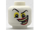 Part No: 3626cpb2034  Name: Minifigure, Head Black Eyebrows, Yellow around Eyes and Wide Crooked Grin with Red Lips and Yellowish Green Teeth Pattern (The Joker) - Hollow Stud